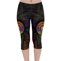 Fractal Abstract Background Pattern Velvet Capri Leggings  by Wegoenart