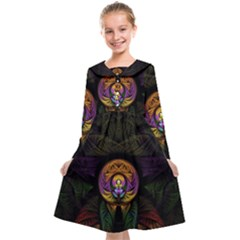 Fractal Abstract Background Pattern Kids  Midi Sailor Dress