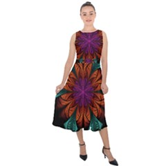 Fractal Flower Fantasy Floral Midi Tie-back Chiffon Dress by Wegoenart