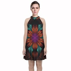 Fractal Flower Fantasy Floral Velvet Halter Neckline Dress  by Wegoenart