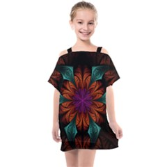Fractal Flower Fantasy Floral Kids  One Piece Chiffon Dress by Wegoenart