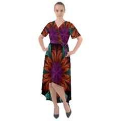 Fractal Flower Fantasy Floral Front Wrap High Low Dress by Wegoenart