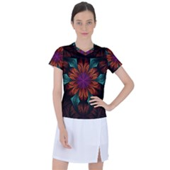 Fractal Flower Fantasy Floral Women s Sports Top