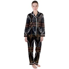 Fractal Abstract Background Pattern Satin Long Sleeve Pyjamas Set by Wegoenart