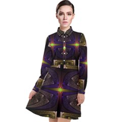 Fractal Fantasy Design Texture Long Sleeve Chiffon Shirt Dress by Wegoenart