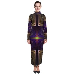 Fractal Fantasy Design Texture Turtleneck Maxi Dress by Wegoenart
