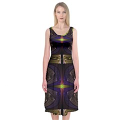 Fractal Fantasy Design Texture Midi Sleeveless Dress by Wegoenart