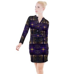 Fractal Fantasy Design Texture Button Long Sleeve Dress by Wegoenart