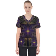 Fractal Fantasy Design Texture Women s V-neck Scrub Top by Wegoenart