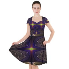 Fractal Fantasy Design Texture Cap Sleeve Midi Dress by Wegoenart