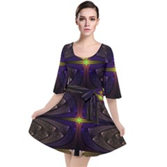 Fractal Fantasy Design Texture Velour Kimono Dress by Wegoenart