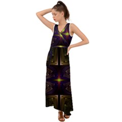 Fractal Fantasy Design Texture V-neck Chiffon Maxi Dress by Wegoenart