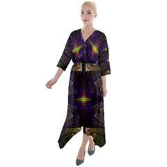 Fractal Fantasy Design Texture Quarter Sleeve Wrap Front Maxi Dress by Wegoenart