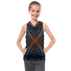 Art Abstract Fractal Pattern Kids  Sleeveless Hoodie by Wegoenart