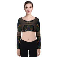 Fractal Abstract Background Pattern Velvet Long Sleeve Crop Top by Wegoenart