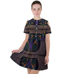 Fractal Abstract Background Pattern Short Sleeve Shoulder Cut Out Dress