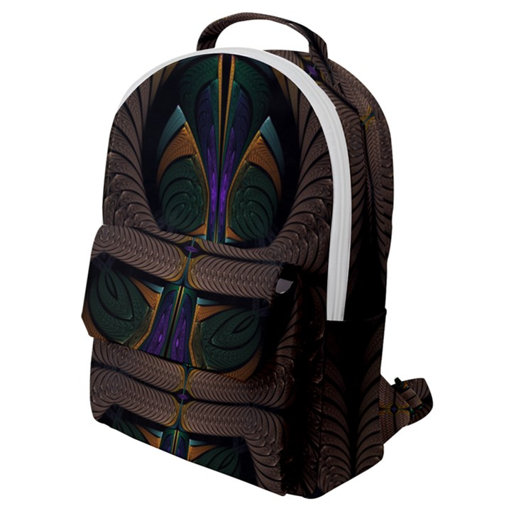 Fractal Abstract Background Pattern Flap Pocket Backpack (Small)