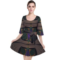 Fractal Abstract Background Pattern Velour Kimono Dress