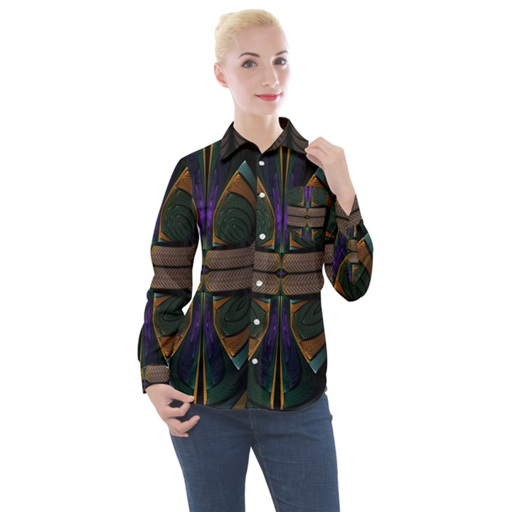Fractal Abstract Background Pattern Women s Long Sleeve Pocket Shirt