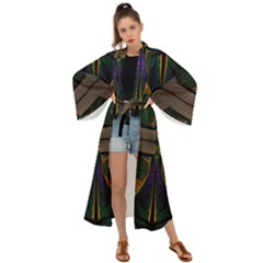 Fractal Abstract Background Pattern Maxi Kimono