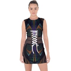 Fractal Abstract Background Pattern Lace Up Front Bodycon Dress