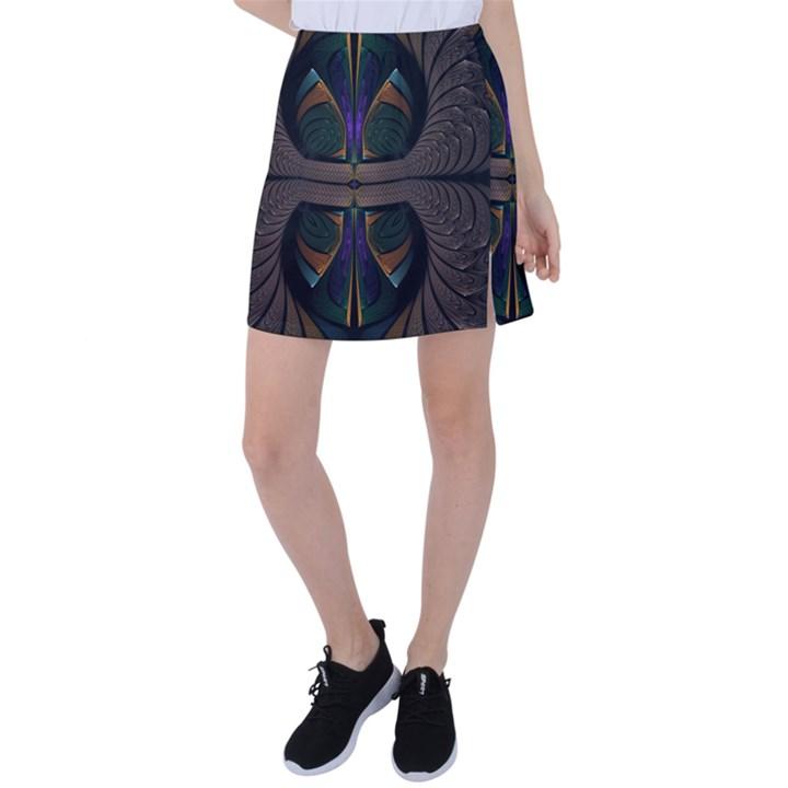 Fractal Abstract Background Pattern Tennis Skirt