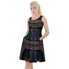 Fractal Abstract Background Pattern Knee Length Skater Dress With Pockets
