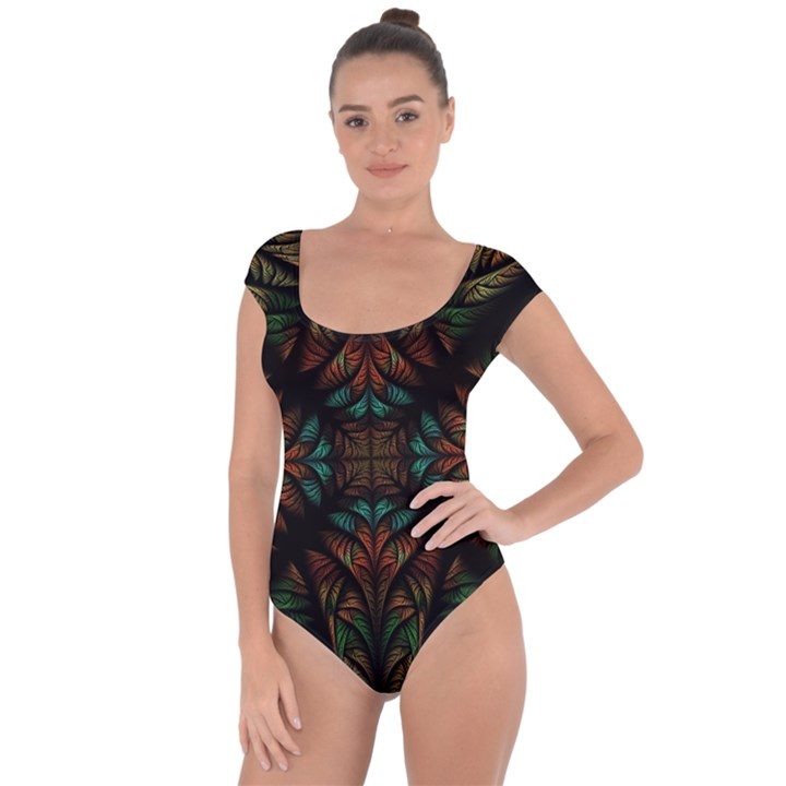 Fractal Fantasy Design Texture Short Sleeve Leotard