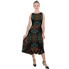 Fractal Fantasy Design Texture Midi Tie Back Chiffon Dress