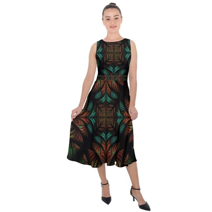 Fractal Fantasy Design Texture Midi Tie-Back Chiffon Dress