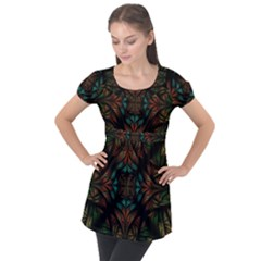 Fractal Fantasy Design Texture Puff Sleeve Tunic Top by Wegoenart