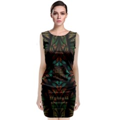 Fractal Fantasy Design Texture Sleeveless Velvet Midi Dress by Wegoenart