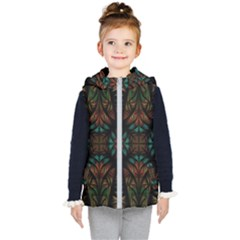 Fractal Fantasy Design Texture Kids  Hooded Puffer Vest by Wegoenart