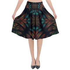 Fractal Fantasy Design Texture Flared Midi Skirt