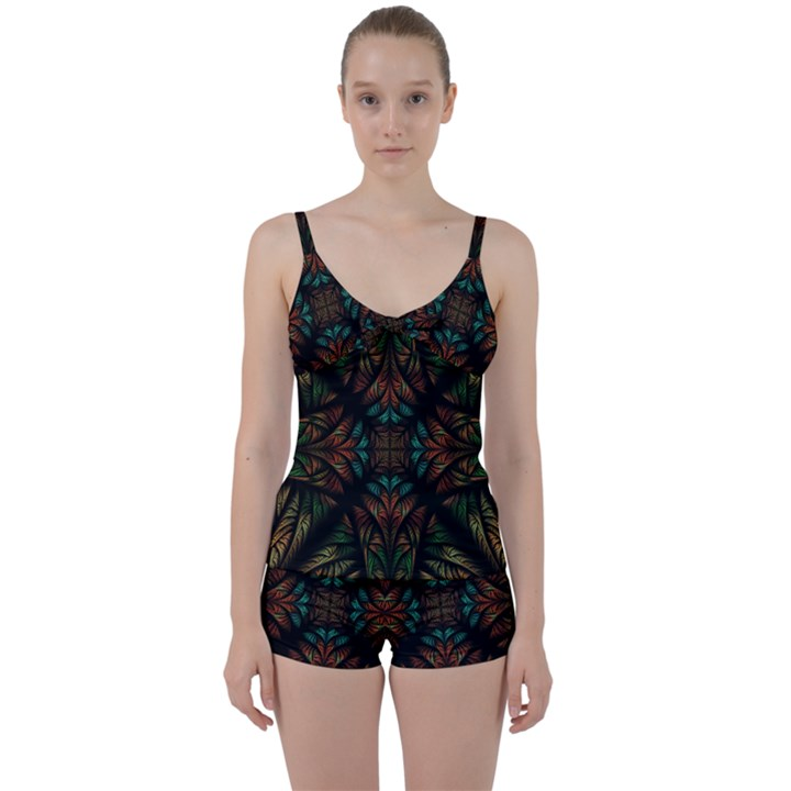 Fractal Fantasy Design Texture Tie Front Two Piece Tankini