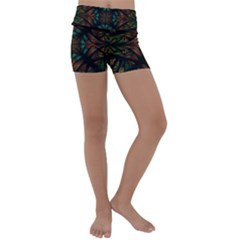 Fractal Fantasy Design Texture Kids  Lightweight Velour Yoga Shorts