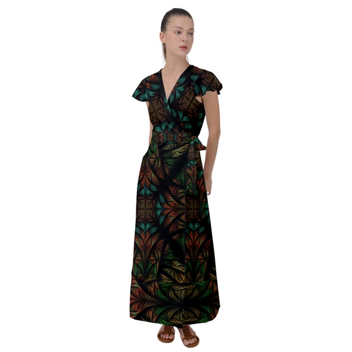 Fractal Fantasy Design Texture Flutter Sleeve Maxi Dress