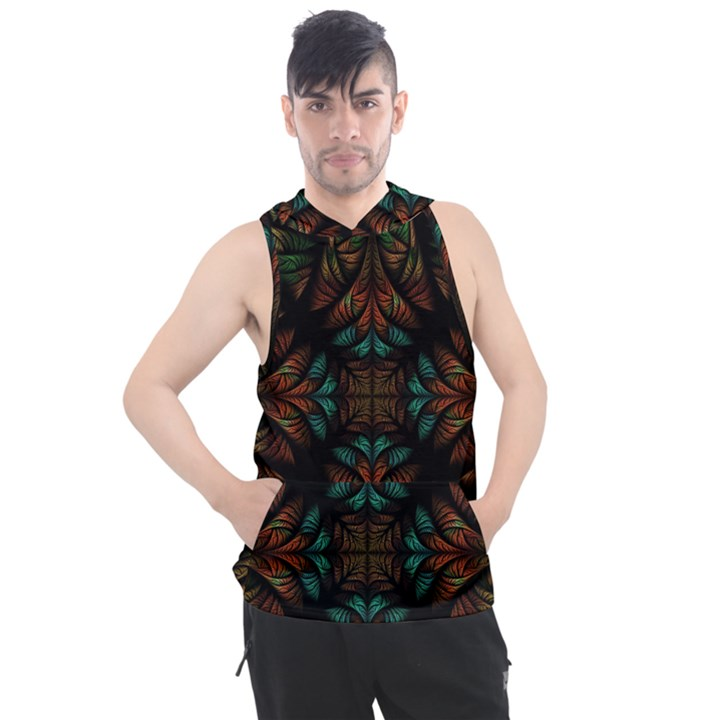 Fractal Fantasy Design Texture Men s Sleeveless Hoodie