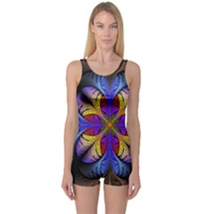 Fractal Flower Fantasy Floral One Piece Boyleg Swimsuit