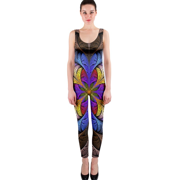 Fractal Flower Fantasy Floral One Piece Catsuit