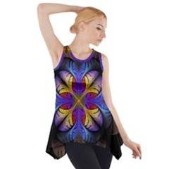 Fractal Flower Fantasy Floral Side Drop Tank Tunic