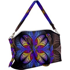 Fractal Flower Fantasy Floral Canvas Crossbody Bag
