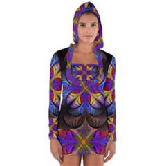 Fractal Flower Fantasy Floral Long Sleeve Hooded T Shirt