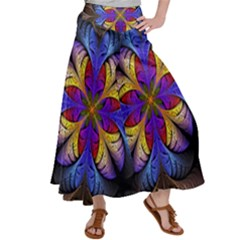 Fractal Flower Fantasy Floral Satin Palazzo Pants