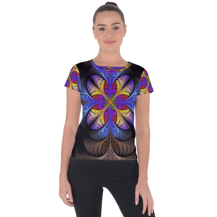 Fractal Flower Fantasy Floral Short Sleeve Sports Top