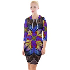 Fractal Flower Fantasy Floral Quarter Sleeve Hood Bodycon Dress