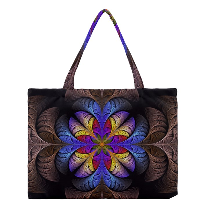 Fractal Flower Fantasy Floral Medium Tote Bag