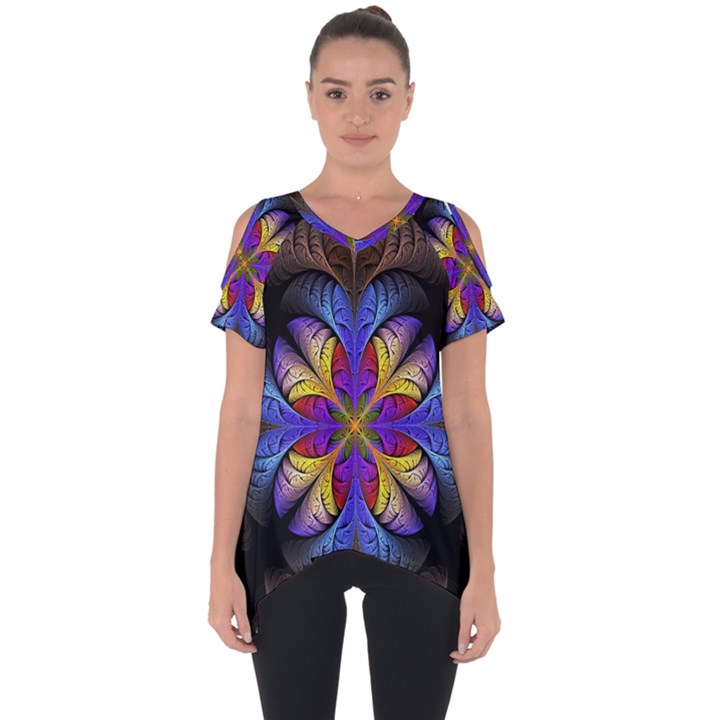 Fractal Flower Fantasy Floral Cut Out Side Drop Tee