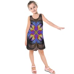 Fractal Flower Fantasy Floral Kids  Sleeveless Dress by Wegoenart