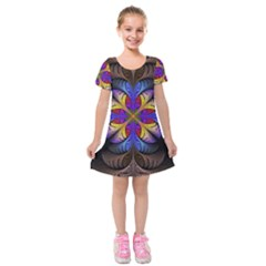 Fractal Flower Fantasy Floral Kids  Short Sleeve Velvet Dress by Wegoenart